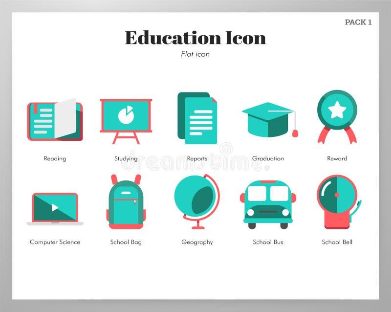 Paquete plano de los iconos de la educación stock de ilustración