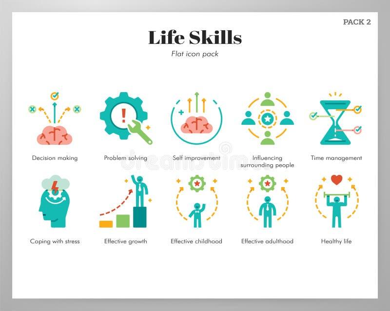 Paquete plano de los iconos de las habilidades de la vida stock de ilustración