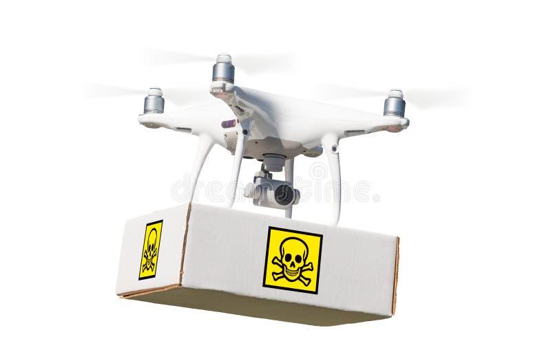 Paquete que lleva de aviones del abejón sin tripulación del sistema UAV Quadcopter imagenes de archivo