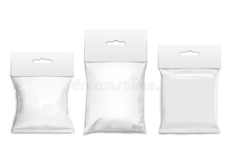 Paquete realista de la almohada del bocado de la comida ilustración del vector
