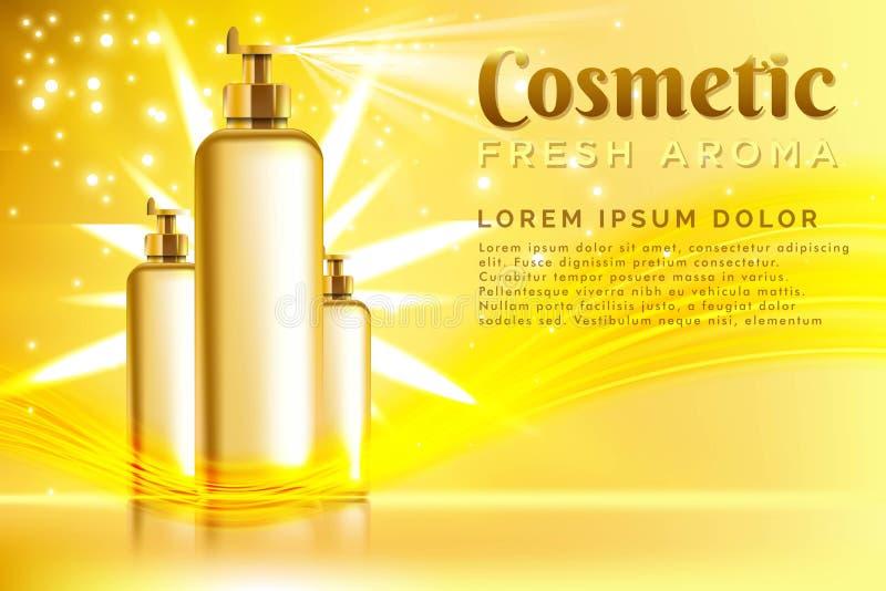 paquete realista del cosmético de la plantilla Plantilla del producto de los cosméticos del espray para los anuncios o el fondo d ilustración del vector