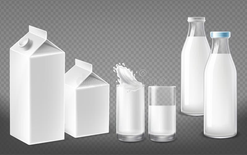 Paquete realista del vector fijado para los productos lácteos ilustración del vector