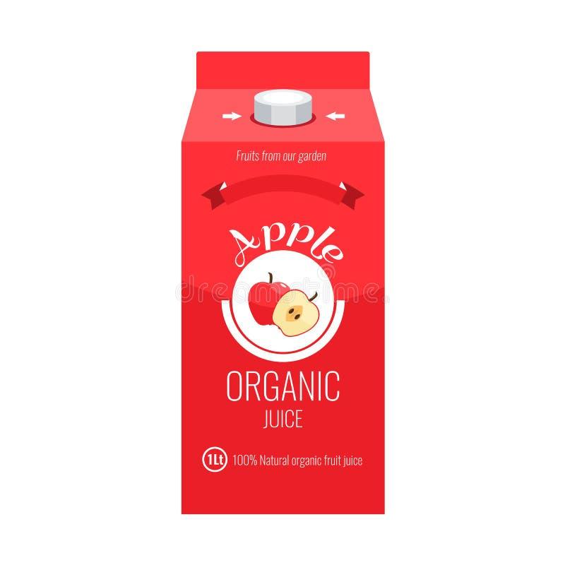 Paquete rojo de la caja del zumo de manzana con estilo sólido y plano del diseño del color stock de ilustración