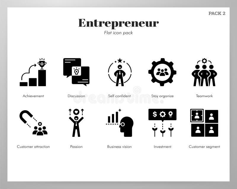 Paquete sólido de los iconos del empresario ilustración del vector
