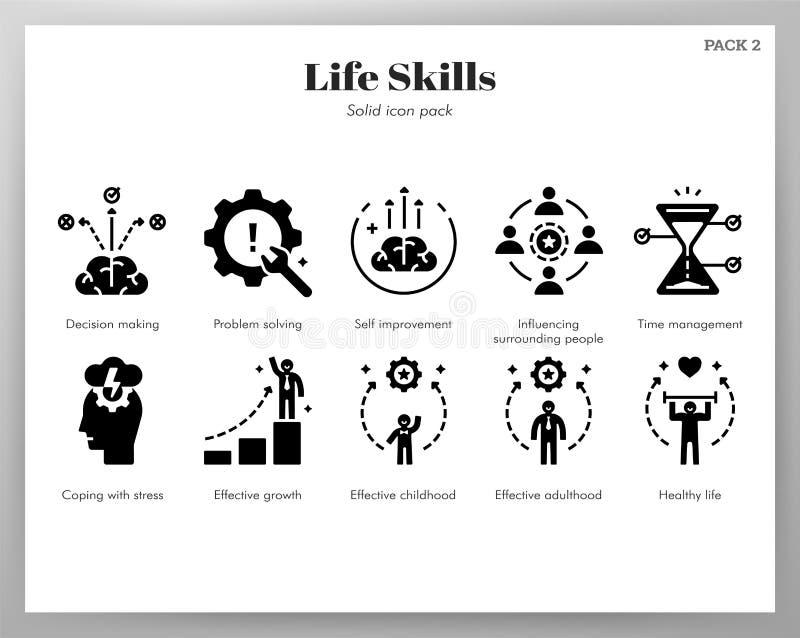 Paquete sólido de los iconos de las habilidades de la vida libre illustration