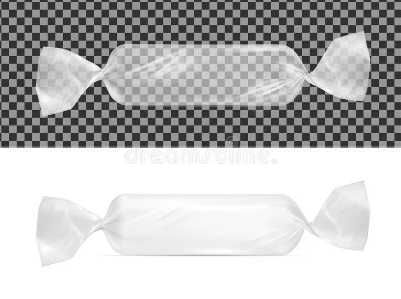 Paquete transparente del bocado de la comida de la hoja para el caramelo y otros productos ilustración del vector