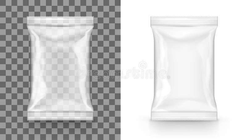 Paquete transparente del bolso de la bolsita del bocado de la comida del espacio en blanco blanco ilustración del vector