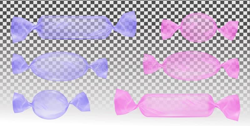Paquete transparente del rosa y violeta de la hoja de la comida del bocado para el caramelo y otros productos stock de ilustración