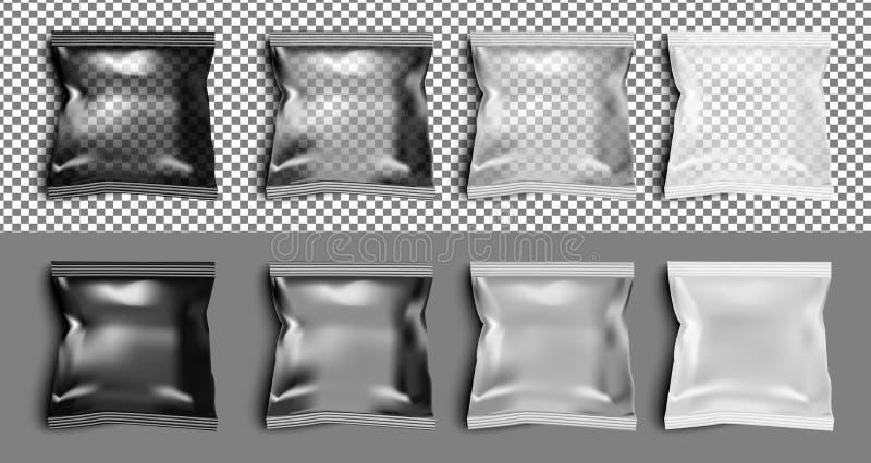 Paquete transparente negro del bocado de la comida de la hoja para los microprocesadores, el caramelo y el othe ilustración del vector