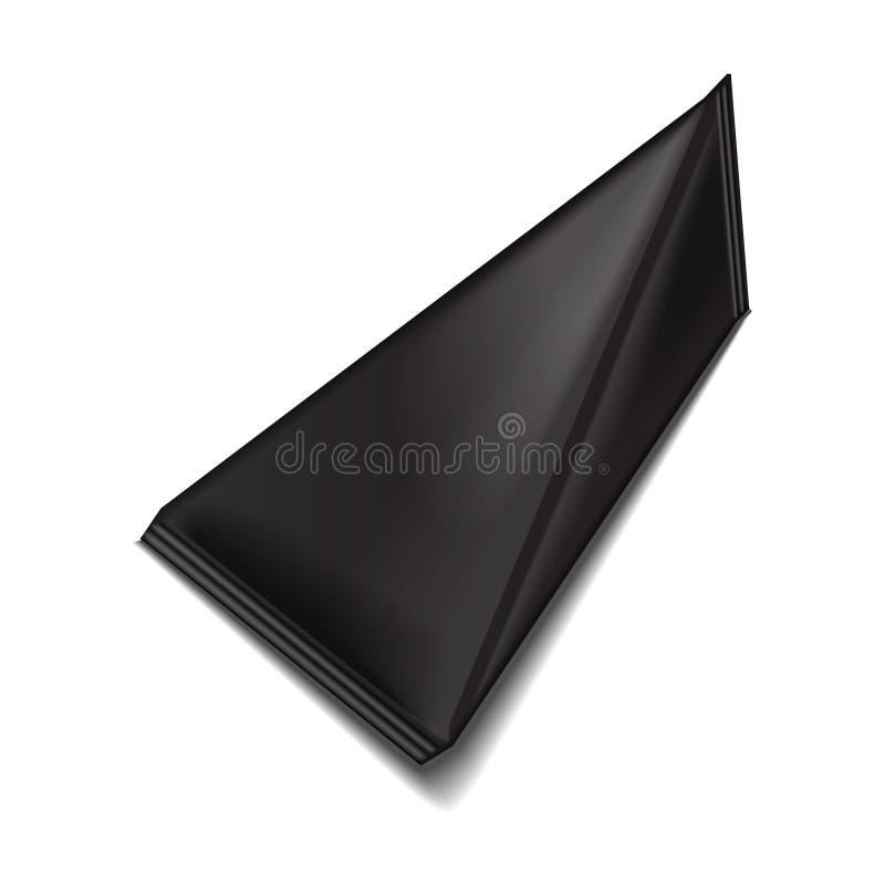 Paquete triangular del jugo o de la leche del cartón del paquete del negro del espacio en blanco Mofa realista blanca del paquete ilustración del vector