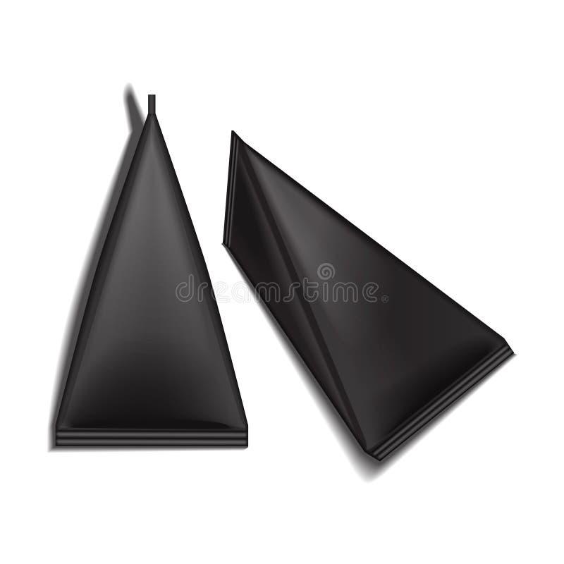 Paquete triangular en blanco negro del jugo o de la leche del sistema del cartón del paquete Mofa realista blanca del paquete enc libre illustration