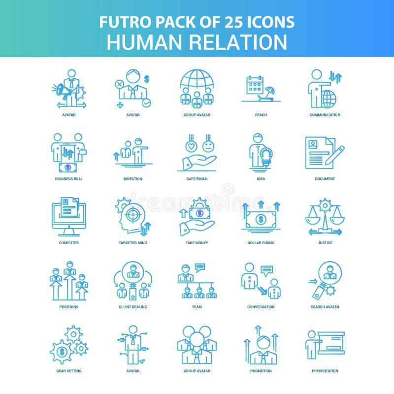 25 paquete verde y azul del icono de la relación humana de Futuro stock de ilustración