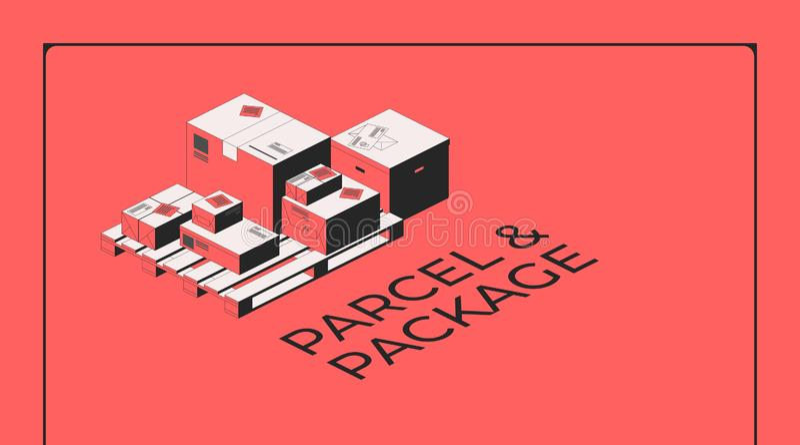 Paquete y paquete Cajas en una plataforma de madera Ejemplo isométrico del vector para una página del aterrizaje del sitio web y  stock de ilustración