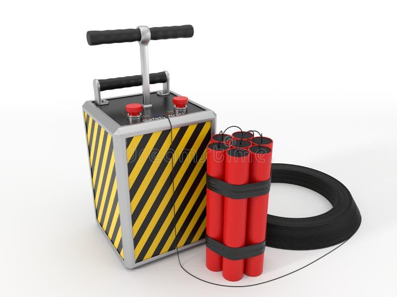 Paquete y detenator de la dinamita ilustración 3D stock de ilustración