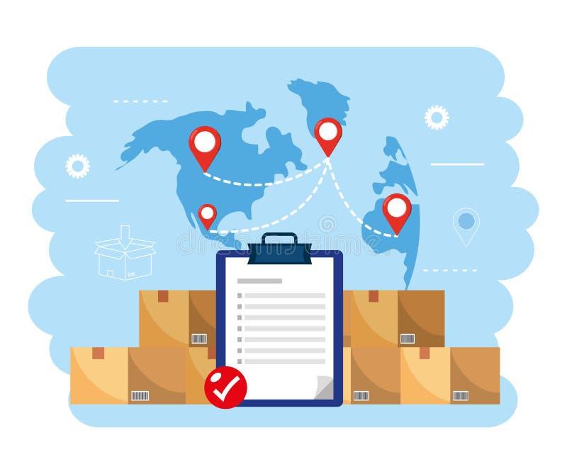 Paquetes de las cajas con la lista de verificación y el mapa global libre illustration