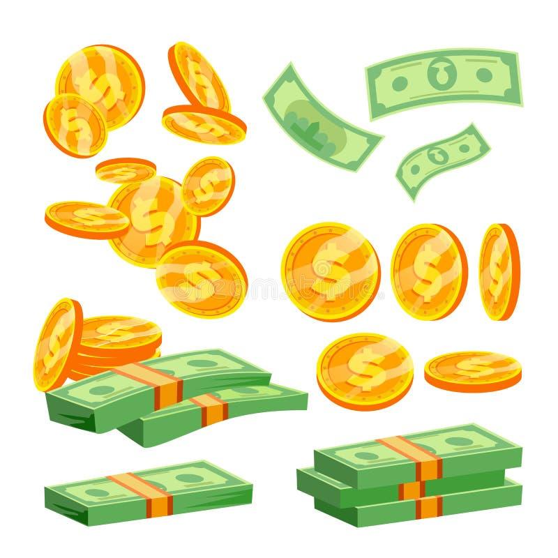 Paquetes de vector de los billetes de banco Pila de efectivo Pila del dólar Centenares de dólares Ejemplo plano aislado de la his ilustración del vector