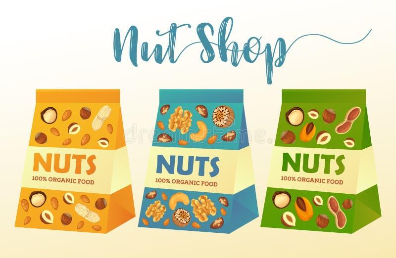 Paquetes del papel con las nueces o los paquetes del producto libre illustration