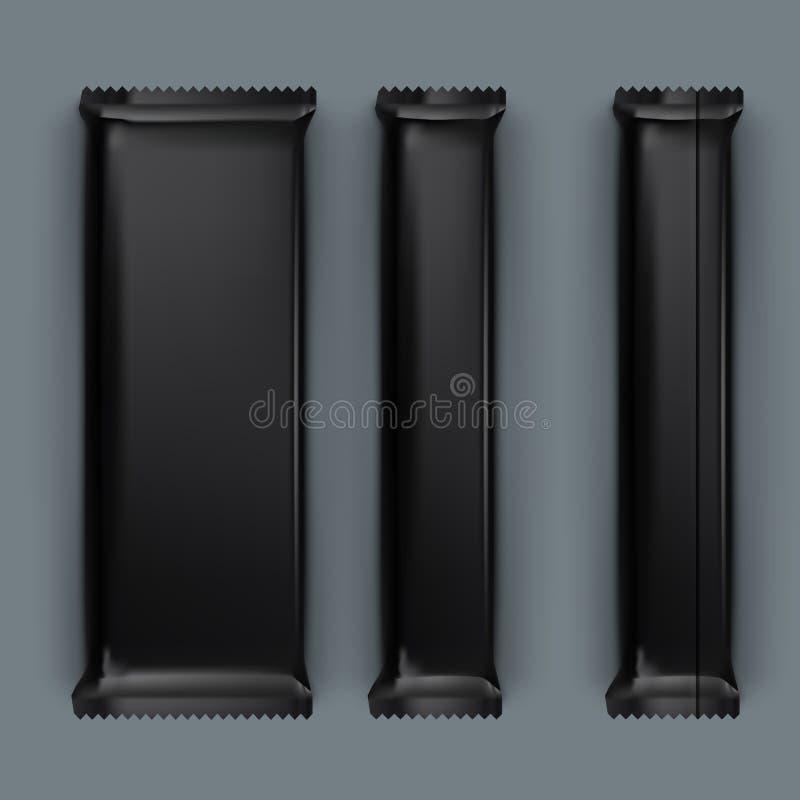 Paquetes en blanco realistas de la plantilla para el bocado, el chocolate o el caramelo sistema del paquete pl?stico ilustración del vector