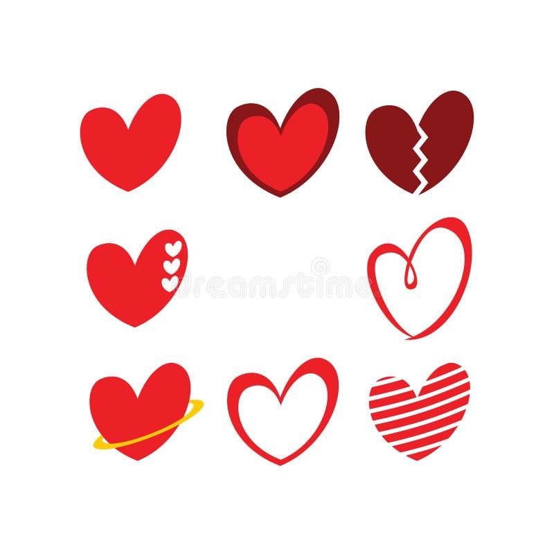 Paquetes lindos del concepto del logotipo de la muestra del icono del amor/del corazón stock de ilustración
