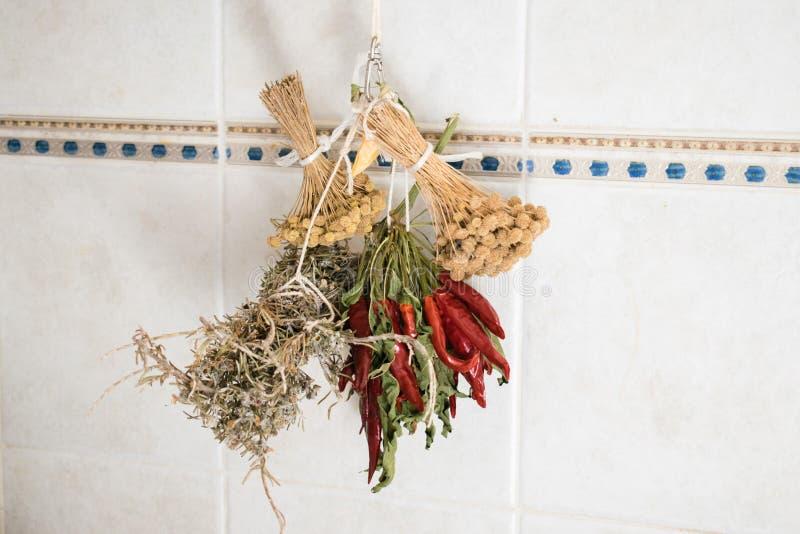 Paquetes secados de la hierba y pimientas rojas que cuelgan en la pared fotografía de archivo libre de regalías
