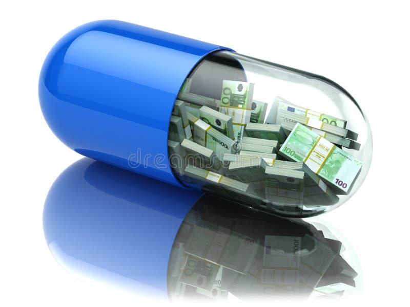 Paquets d'euro dans la capsule, pilule Coûts de soins de santé ou a financier illustration stock