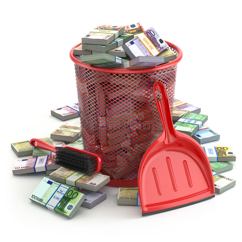Paquets d'euro dans la poubelle Col de gaspillage d'argent ou de devise illustration de vecteur