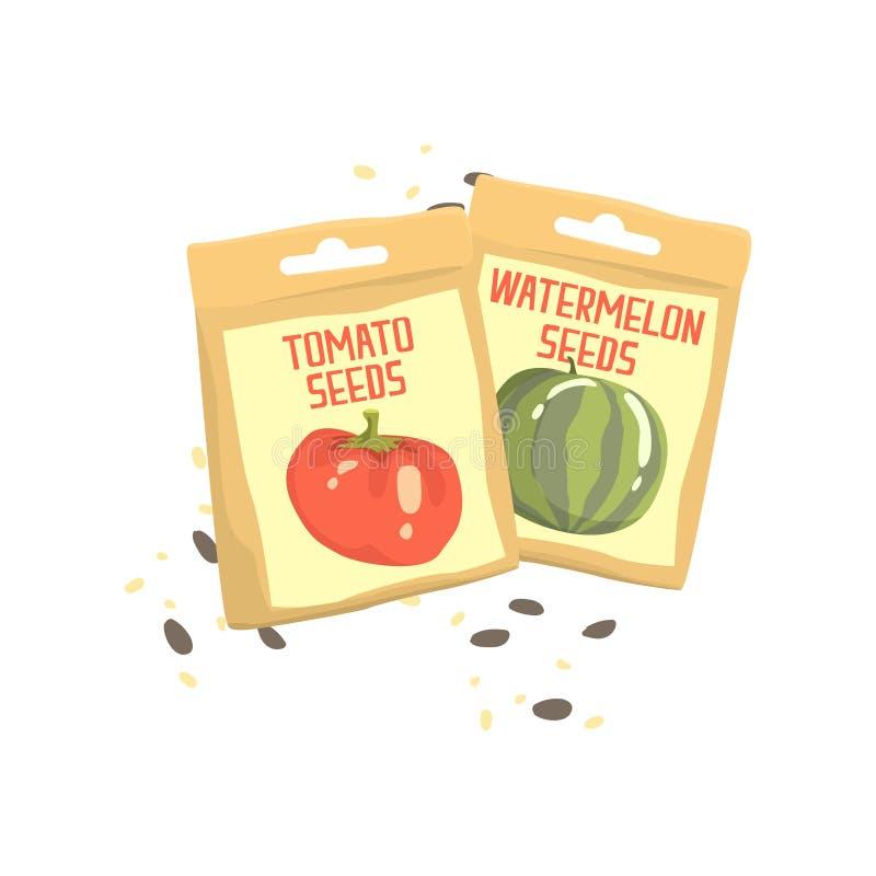 Paquets d'illustration de vecteur de bande dessinée de graines de tomate et de pastèque illustration stock