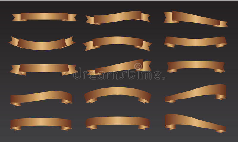 Paquets de bannière de ruban d'or photographie stock libre de droits