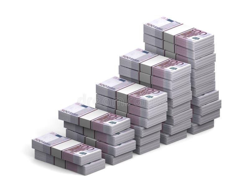 Paquets de diagramme 500 d'euro sur un fond blanc, projection orthographique Concept de croissance des bénéfices illustration libre de droits