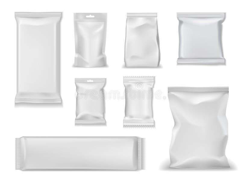 Paquets de sac d'aluminium, paquet doy de poche blanche de sachet illustration libre de droits