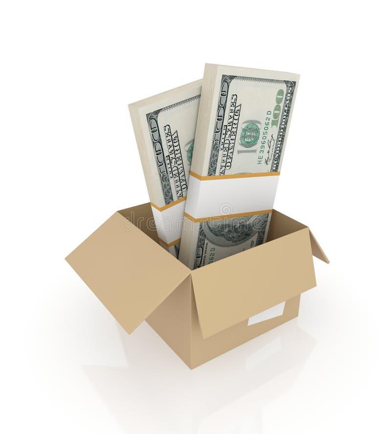 Paquets du dollar dans un cadre de carton. illustration libre de droits