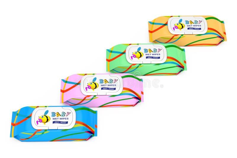 Paquets humides de couleur de chiffons de bébé rendu 3d illustration libre de droits