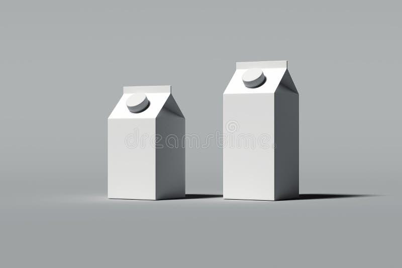 Paquets vides blancs de carton pour des boissons sur le fond gris, rendu 3d illustration de vecteur