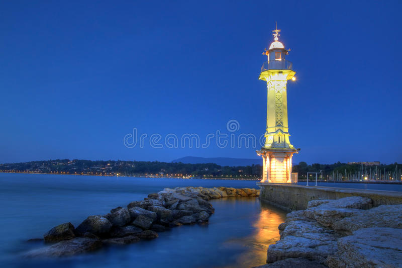 paquis Швейцария маяка geneva стоковая фотография