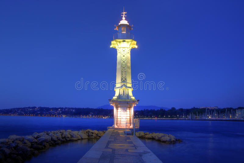 Paquis Lighthouse, Geneva, Switzerland stock photography