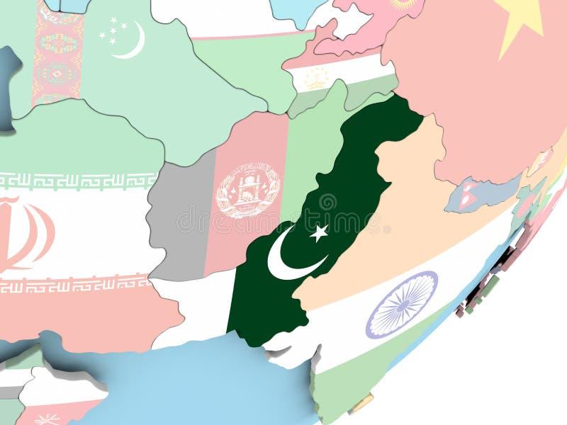 Paquistán con la bandera ilustración del vector