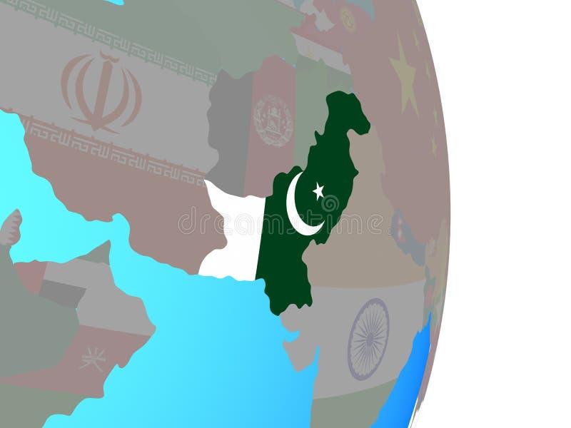 Paquistán con la bandera en el globo ilustración del vector