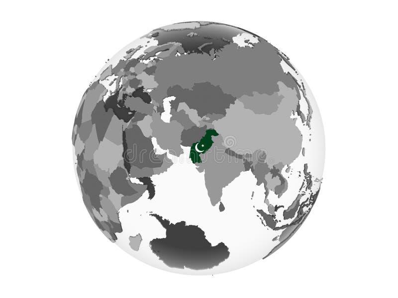 Paquistán con la bandera en el globo aislado libre illustration