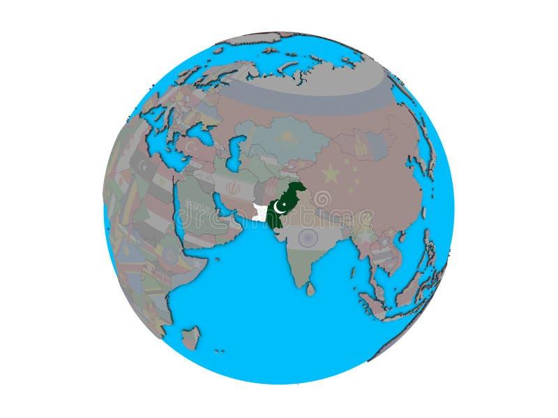 Paquistán con la bandera en el globo aislado stock de ilustración