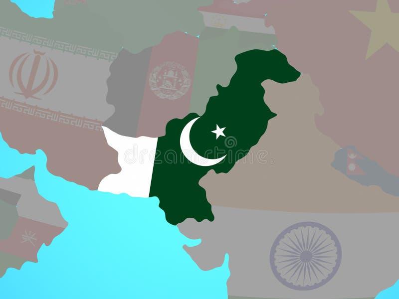 Paquistán con la bandera en mapa libre illustration