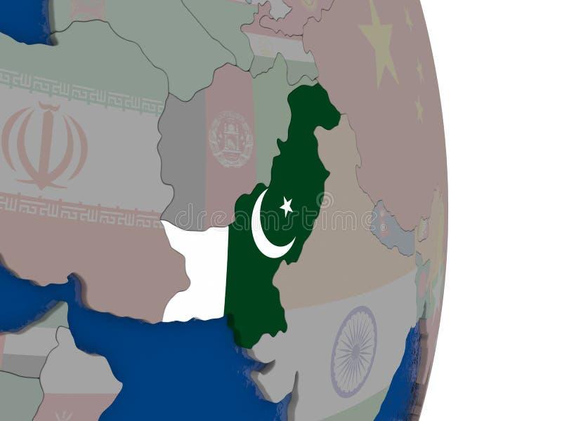 Paquistán con su bandera stock de ilustración