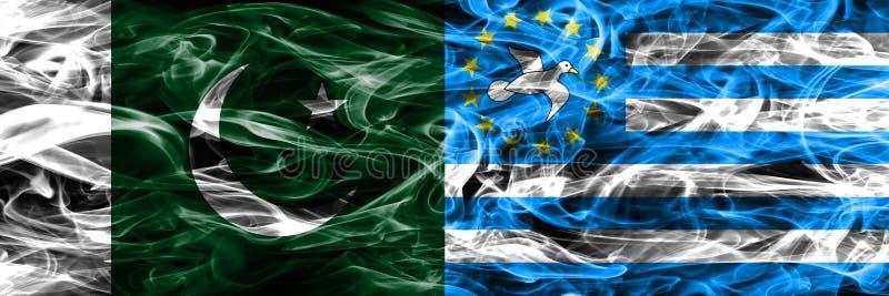 Paquistán contra las banderas del sur del humo del Camerún colocadas de lado a lado Thic fotografía de archivo
