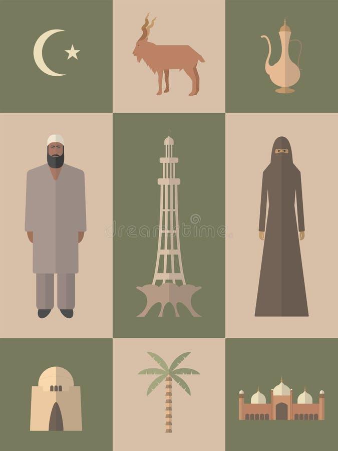 paquistán Sistema plano del viaje de los iconos libre illustration