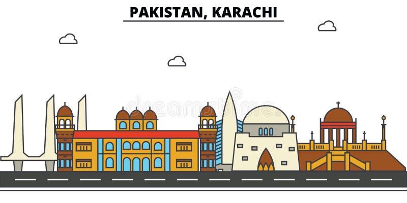 Paquistão, Karachi Arquitetura da skyline da cidade editable ilustração royalty free