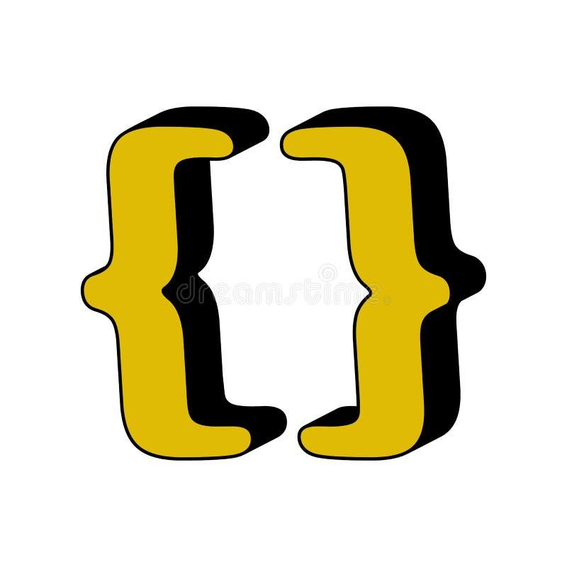 paréntesis, icono 3D Elemento del alfabeto del color 3D para los apps móviles del concepto y de la web Paréntesis detallados, ico libre illustration