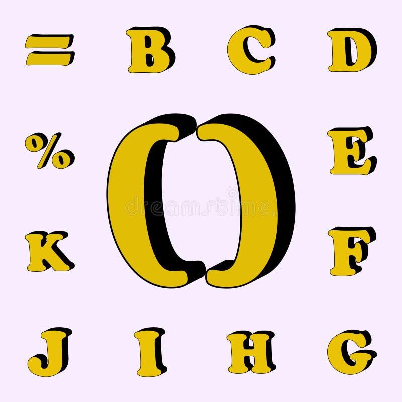 paréntesis, icono 3D sistema universal de los iconos de las palabras 3D para la web y el móvil ilustración del vector