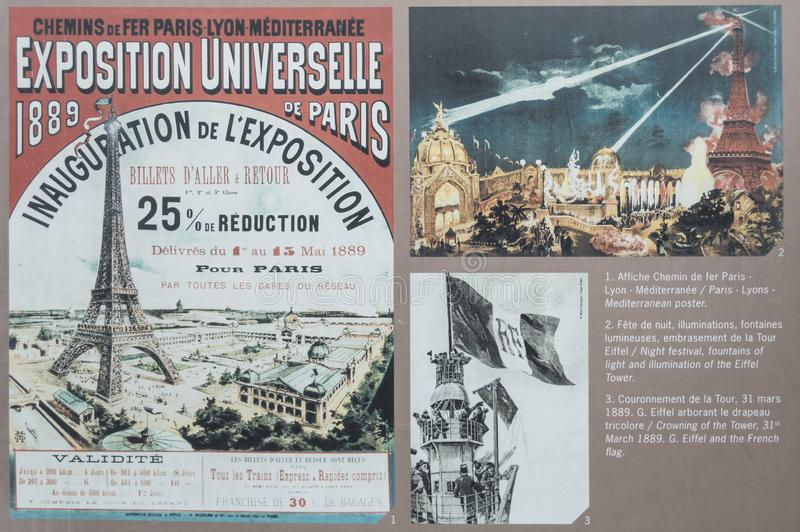 París - 13 de julio de 2014: Cartel de la inauguración del vintage de la torre Eiffel y documentos históricos foto de archivo libre de regalías