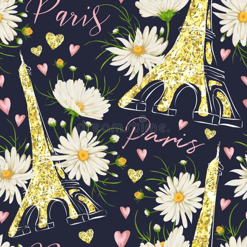 parís El modelo inconsútil del vintage con la torre Eiffel, los corazones con textura de oro de la hoja del brillo y la manzanill ilustración del vector