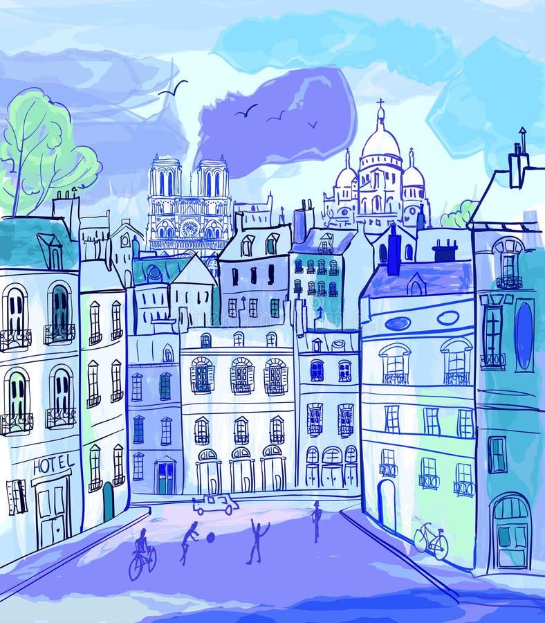 París en estilo de la acuarela ilustración del vector