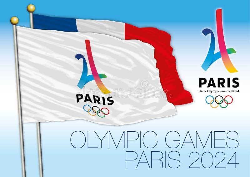 PARÍS, FRANCIA, AÑO 2017 - candidato de París a la bandera de los Juegos Olímpicos, de París 2024 del verano y al logotipo con la stock de ilustración